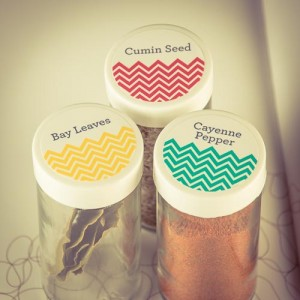 chevron kitchen spice jar labels